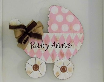 Baby Carriage Door Hanger, Pink Baby Carriage, Pink Chevron Baby Carriage, Birth Announcement, Its A Girl, Baby Shower Decor, Girls  Room