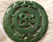 "Jade hand carved antique, pendant paperweight 2 double headed dragons and phoenix  ""dragons unleashed"" 2- 3/4""  air, water, earth, fire"
