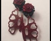 PICK SIZE Black Gem Red Glitter Rose  Acrylic Heart Knuckles Laser Cut dangle plug ear gauges Plugs