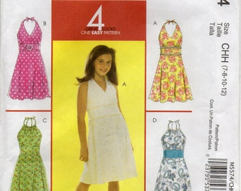 Dress With Self Faced Bodice And Midriff Back Elastic Casing Tie Ends Girls Size 7 8 10 12 Childrens Sewing Pattern McCall's M5574