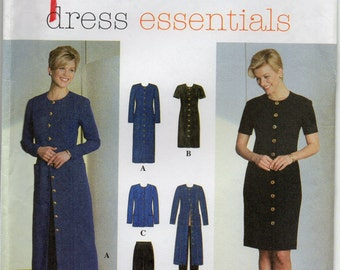 Semi Fitted Front Button Dress Or Jacket Princess Seams Slim Pants With Narrow Waistband Plus Size 14 16 18 Sewing Pattern Simplicity 7793