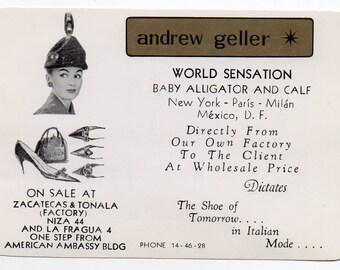 Vintage Advertising Handout Or Insert Designer Andrew Geller Shoes And Handbags New York Paris Milan The Shoe Of Tomorrow In Italian Mode