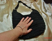 SALE 15% OFF - Black handbag, Crocheted and beaded shoulder bag, one pocket handbag.....