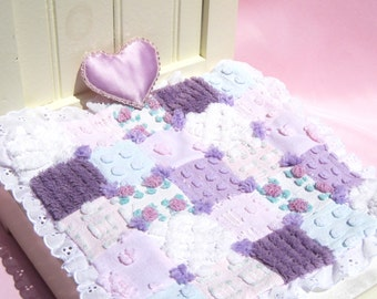 Doll Quilt Small Doll Blanket Pink and Purple Chenille Doll Quilt Patchwork Doll Quilt Doll Blanket Small Doll Quilt Vintage Chenille Quilt