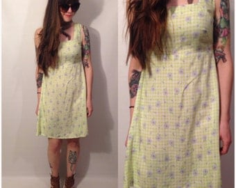 Vintage 90s Lime Green Floral Dress A Line Flowers Folk Sleeveless Size Small