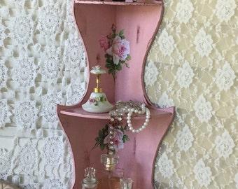 Shabby Pink Corner Shelf, Hanging Corner Curio, Corner Rack, Shabby Cottage Chic, chippy distressed, Nursery Display Shelf, fanny