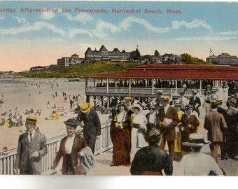 Vintage Postcard, Nantasket Beach, Massachusetts, On the Promenade, 1910