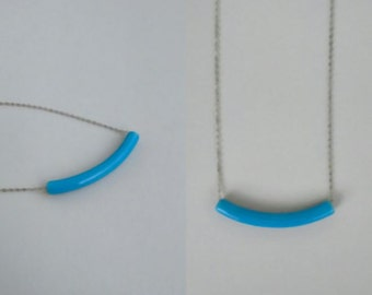 Blue Tube Ceramic Necklace, Simple Necklace, Minimal, Clay Necklace