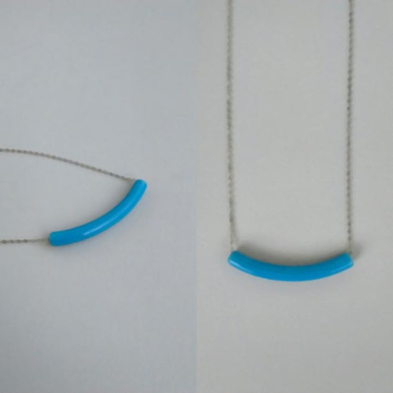Blue Tube Ceramic Necklace, Simple Necklace, Minimal, Clay Necklace