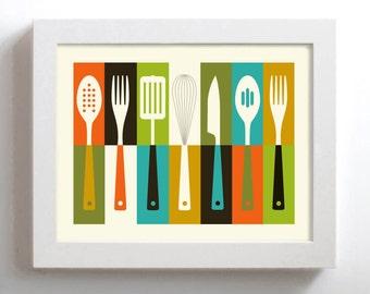 Kitchen Art - Mid Century Modern - Cathrineholm  - Retro Kitchen Decor - Cooking Utensils