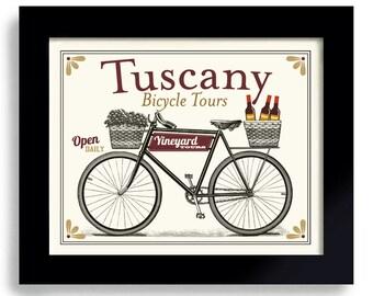 Wine Connoisseur Drinks Wine Tuscany Italy Wine Art Unique Wine Gift Idea Bicycle Art Bar Decor Vineyards Italian Wine