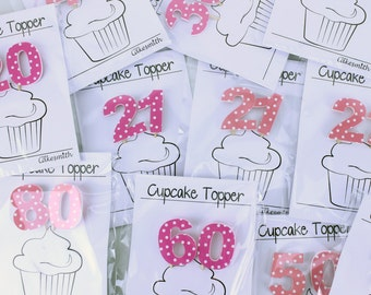 Double-Digit Pink Spotty Birthday Cake Decorations