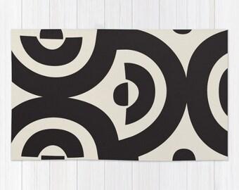Soft WOVEN AREA RUG Bath Mat Bold Black Geometric Print Soft Beige Tan New Neutral Urban Modern Minimalist Throw Rug . 2x3 3x5 4x6 Washable