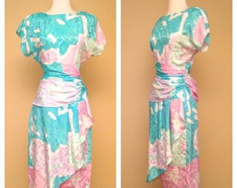 CLEARANCE Vintage 80s Does 40s 50s Cocktail Dress Wrap Skirt Knee Length Pastel Teal Short Sleeve Party Dress Size Medium Large