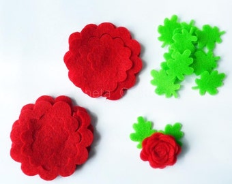 Felt flowers and leaves. 18 pieces. Die Cut Shapes, Applique, Party Supply, DIY Wedding