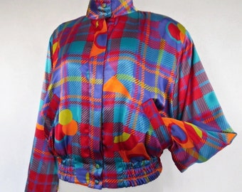 SALE :))) GEOMETRIC RAINBOW . Bright Satin Geometric Novelty Print Bomber Jacket 80s L Xl