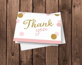 20 Pink & Glitter Thank You Cards