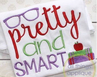 Pretty and Smart Embroidery Design (#779) - SATIN Stitch - 3 Sizes - Back to School Applique - INSTANT DOWNLOAD