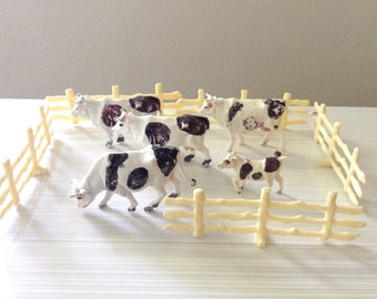 Vintage Plastic Cow Set with Fence