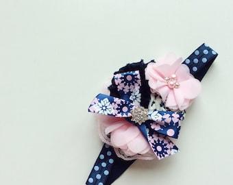 Navy light pink headband baby girl headbands infant headband toddler headband headbands for girls matilda jane headband m2 m