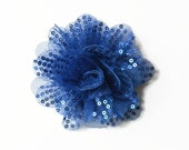 "Sequin and Tulle Flowers. 3.5"" ROYAL BLUE Sequin Flowers. QTY: 1 Flower.  ~~ Noelly Collection."