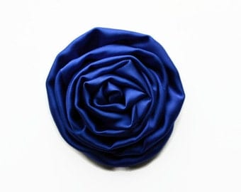 "Dark Blue Satin Swirl Rose. 2.5"" Blue Satin Rose. Set of 2 Flowers. Hazel Collection."