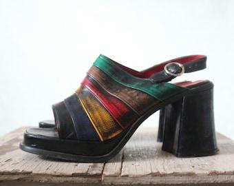 Vintage Rainbow Slingback Platform Heels Sz 6.5
