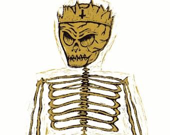 Skeleton Prince (Lino Print)