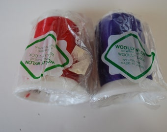2 cones Woolly Nylon Thread for Serger sewing -Grape,Red