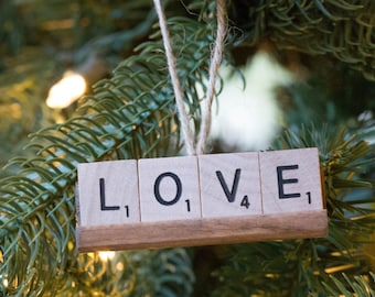 Scrabble Ornament - Peace Love Joy Noel