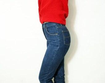 ON SALE Vintage High Waist Dark Denim Cuffed Skinny Jeans