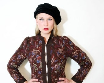 ON SALE Vintage Fall Colors Quilted Cropped Jacket