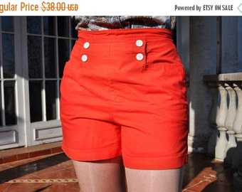 ON SALE Vintage Bright Red 60s High Waist Buttoned Cuffed Cotton Shorts