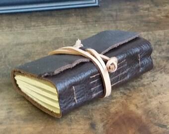 Leather Journal, Pocket-Size, Dark Brown 3 x 4.5 Journals by The Orange Windmill 1648