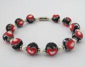 Bracelet, Artisan bracelet, Heart bracelet, Girt for her, red heart bead bracelet, unique bracelet, Artisan jewelry, Shygar beads