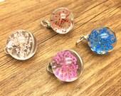 4pcs Mixed 20mm Handmade Dried Flower Glass Cabochon Charm Pendant