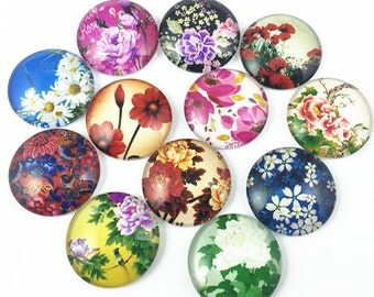 10pcs Mixed 25mm Round Handmade Photo Glass Cabochon - Flower