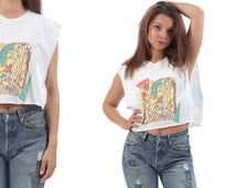CROPPED Novelty T Shirt 80s Naked ADAM and EVE Print Crop Tank Top Low Armhole Sleeveless White Yellow Cotton Shirt Cut Off Raw Edges Medium