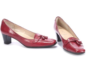 Heeled Loafers 80s Burgundy Red Leather Tassel Loafer Shoes Oxblood Real Leather Vintage Chunky Heel Flat Shoes Italy US 8 UK 5 5 EUR 38 5
