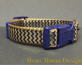 Blue and Gold  Inspired Dog Collar