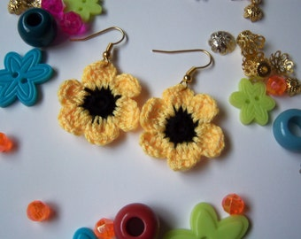 Yellow Crochet Flower Earrings. Handmade Earrings.