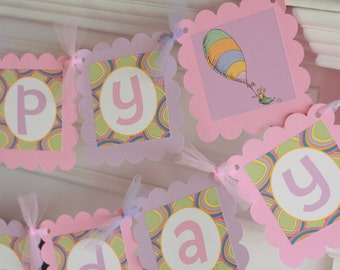 Happy Birthday Pink Purple Girly Oh The Places You'll Go Story Inspired Banner - Cupcake Toppers, Favor Tags & Door Sign Available