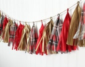Tissue Tassel Garland in Red & Gold Plaid