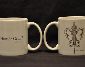 "Alligator Coffee Mug: ""Fleur de Gator"""