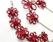 Red Floral Wire Jewelry Set - special rate