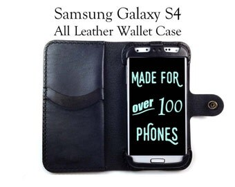 Galaxy S4 Leather Wallet Case - No Plastic - Free Inscription
