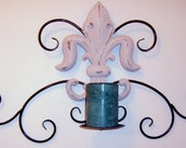 Painted, Fleur De Lis Candle Holder, Metal Candle Holder, Sconce, Wall Decor, Distressed