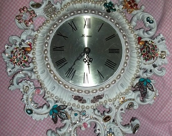 Vintage, Syroco Wall Clock, Altered Clock, Embellished Clock, Ornate Clock, Rhinestone Clock, White Clock