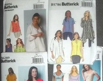 Women Clothing Patterns, Six Patterns, Sewing Supplies,  Large, Ex Large,   Butterick,Blouse Pattern , Tunic Pattern, Dress Pattern