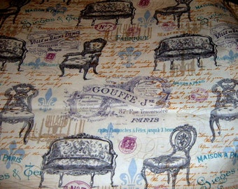 Fabric, Yardage, Victorian Furniture,  Sewing Supplies, Chair Cover, Pillow Fabric,  Paris, Victorian Fabric